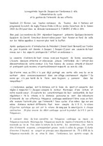 A2018 N°3 23/02/2018 La magistrale leçon de Jacques sur l'endurance à vélo, l'alimentation du cyclo et la gestion de l'intensité de ses efforts
